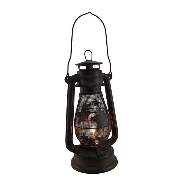 Starry Light Rustic Brown Metal Mesh Electric Outdoor Tabletop Lanterns