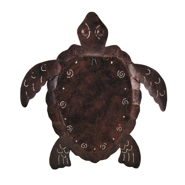 Large Mosaic Shell Brown Sea Turtle Sculpture Wall Sculptures