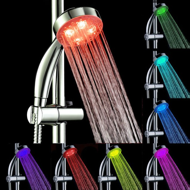 Handheld 7Color LED Light Water Bathroom Shower Head Glow