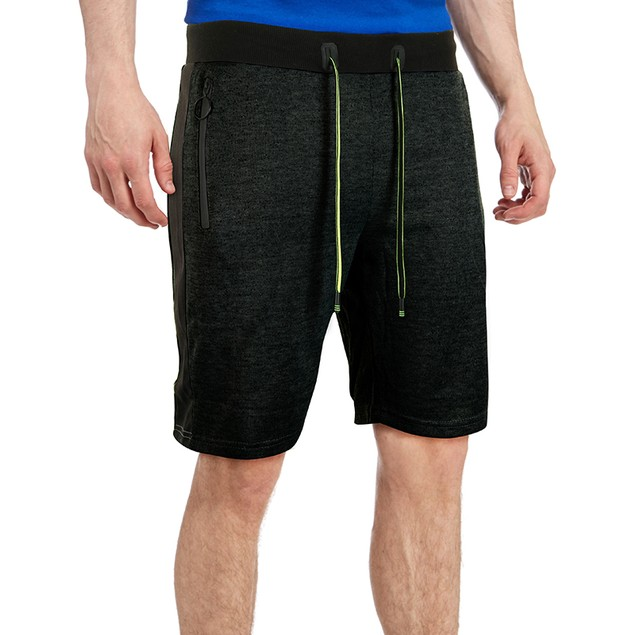 Men's Marled French Terry Shorts With Drawstring & Zippered Pockets
