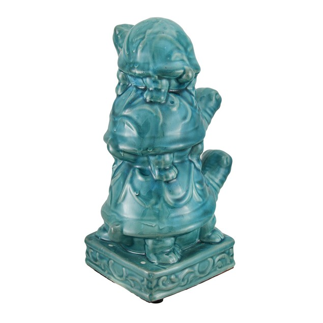 11 1/2 Inch Tall Turquoise Blue Ceramic Stacked Statues