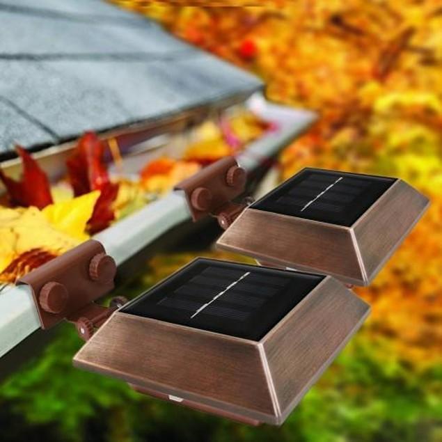 2-Pack Ecothink Square Solar Gutter Light - Copper