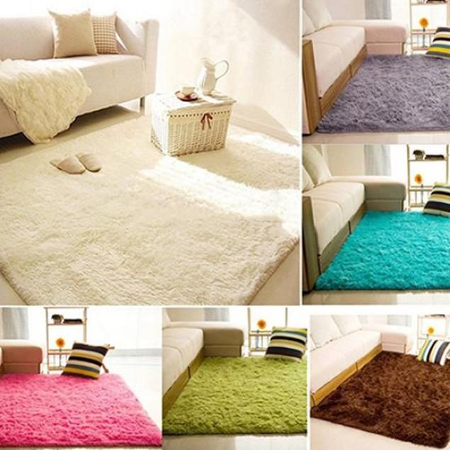 Living Room Bedroom Home Anti-Skid Soft Shaggy Fluffy Area Carpet