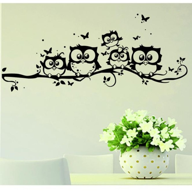 Kids Vinyl Art Cartoon Owl Butterfly Wall Sticker Decor Home Decal