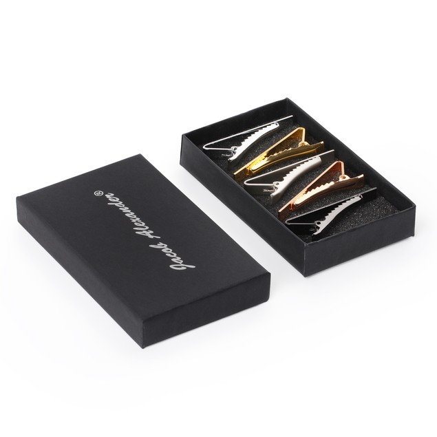 Jacob Alexander 5 Tie Clips Bars Boxed Set Black Silver Rose Gold 2 inch