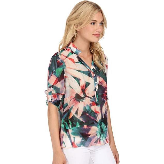 Nicole Miller Women's Floral Tropical Blouse Multi Blouse PT (US 0-2)