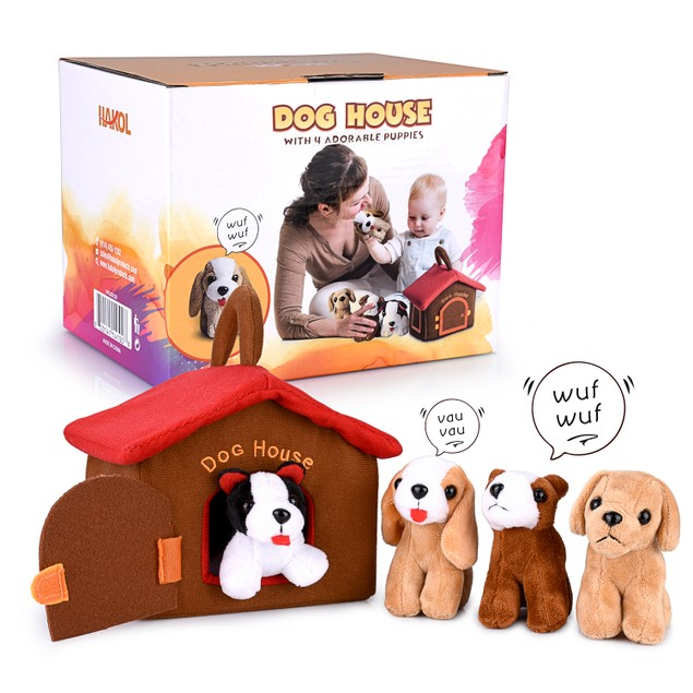 Dog House Educational Toy With 4 Squishy & Barking Puppies Playset
