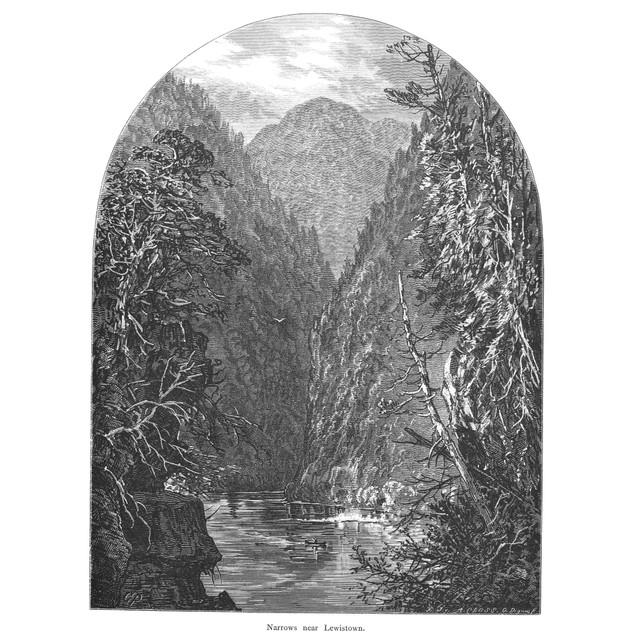 Juniata River. /Nnarrows Near Lewistown, Pennsylvania. Wood Engraving , 187