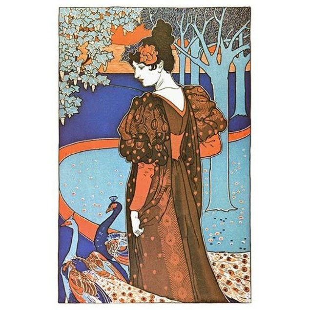 Woman with Peacocks.  High quality vintage art reproduction by Buyenlarge.