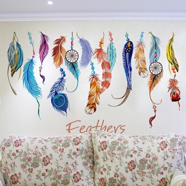 Classic Creative Dream Catcher Feather Wall Sticker Art Decal Mural