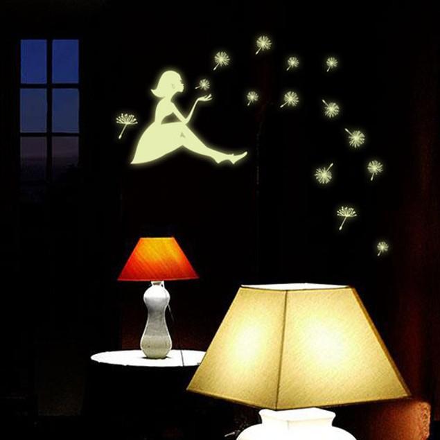 Dandelion Girl Luminous Cartoon Kids Removable Vinyl Wall 3D Sticker