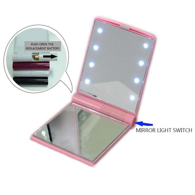 Fashion Women Makeup Mirror 8 LED Lights Lamps