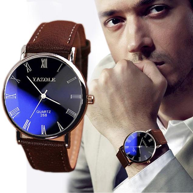 Luxury Fashion Faux Leather Men's Quartz Analog Watch