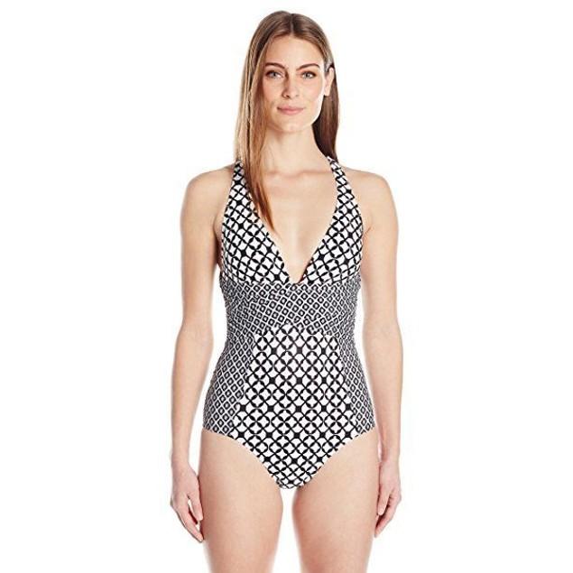 ATHENA Women's Baja Geo Alana Soft Cup Cross One Piece Swimsuit, SZ ME