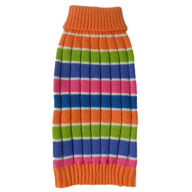 Tutti-Beauty Rainbow Heavy Knitted Ribbed Turtle Neck Dog Sweater