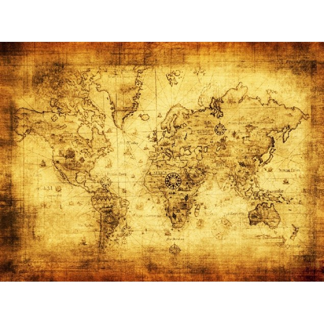 Vintage Style Retro Cloth Poster Globe Old World Nautical Map