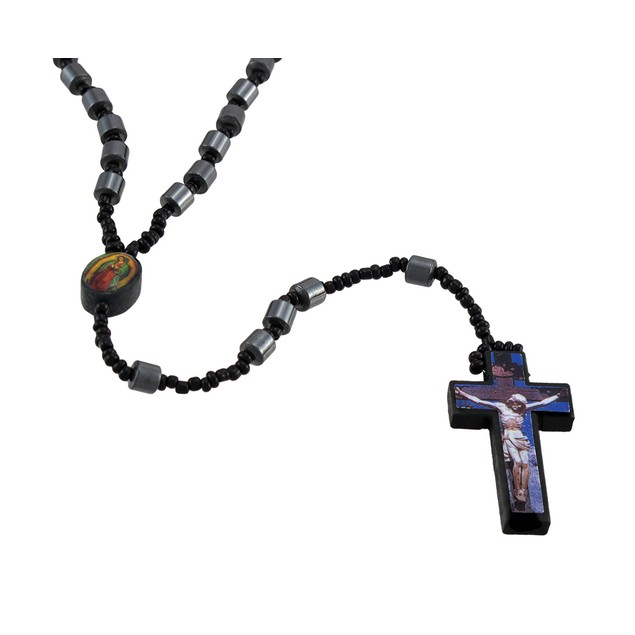 Hematite Barrel Beaded Rosary Printed Graphic Rosary Beads