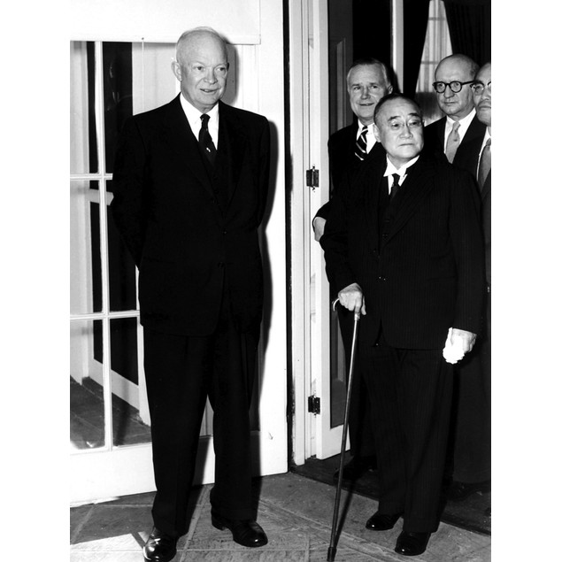 Dwight D Eisenhower with Shigeru Yoshida Poster