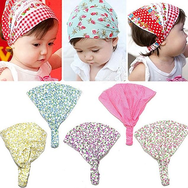 Baby Girls' Floral Polka Dot Print Headscarf