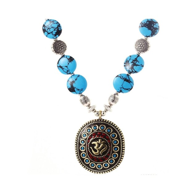 Novadab Om Natural Turquoise Bead Necklace engraved with real Om sign of Om