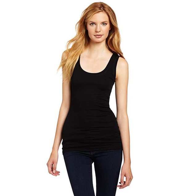 Heather Women's Basic Rib Tank, Black, Large