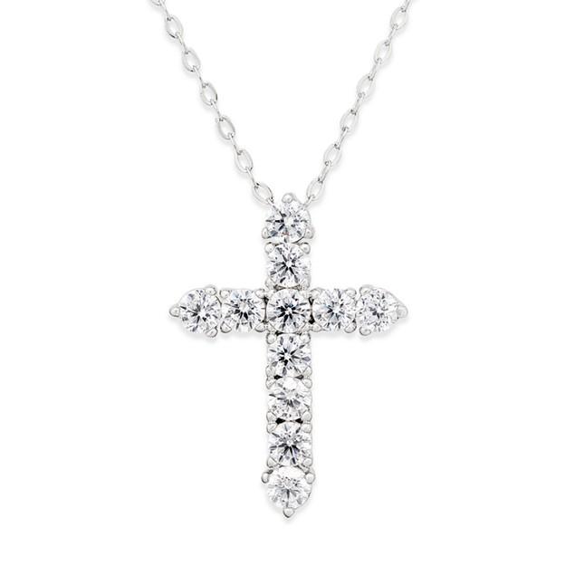Novadab Cubic Zirconia Silver 925 Cross Sterling Silver Pendant Necklace