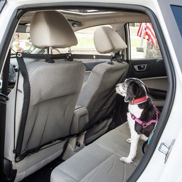 Pet Life Mesh Folding Car Back-Seat Safety Barrier For Dogs & Cats