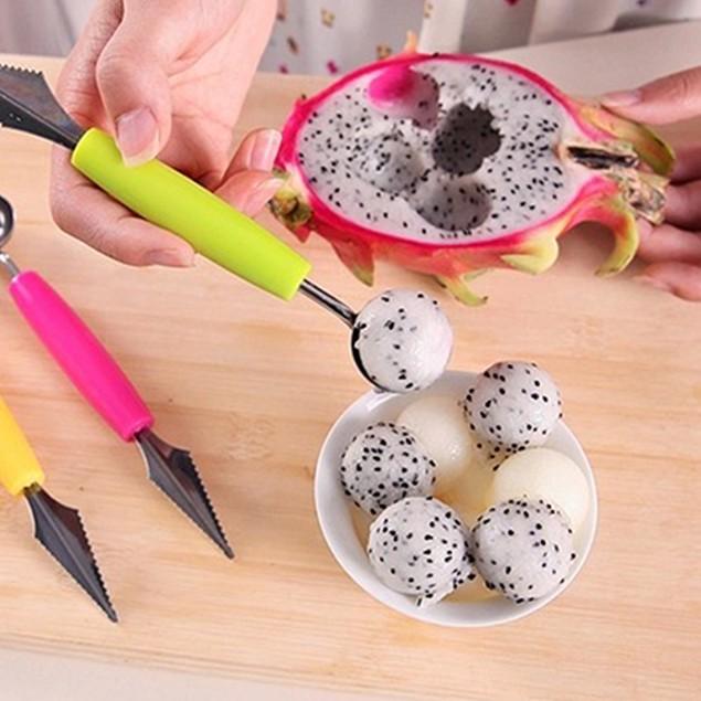 Dual Function Stainless Steel Fruit Salad Scoop Spoon