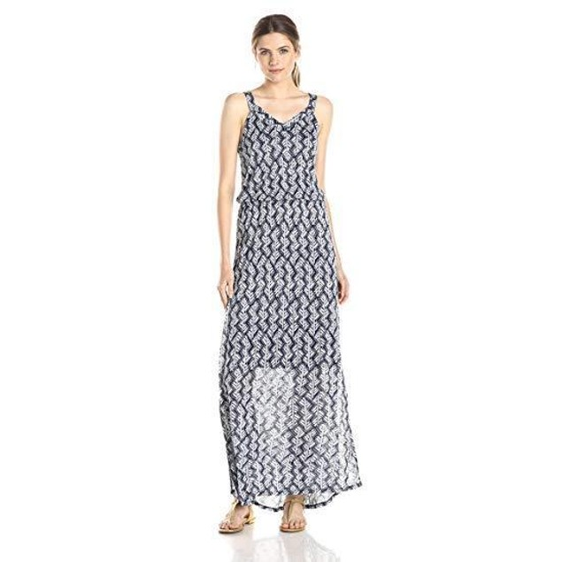 Lucky Brand Women's Navy Printed Maxi, Navy/Multi, X-Large