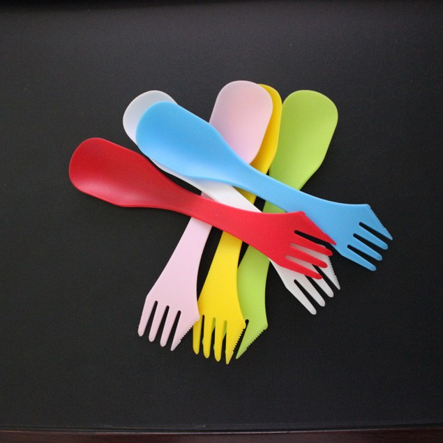 6pcs Camping Fork Spoon Knife Cooking Utensil Cutlery Spork Travel Picnic