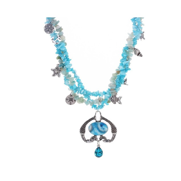 Novadab Nautical Twin Mermaid Amazonite Necklace with Aqua Colored stones