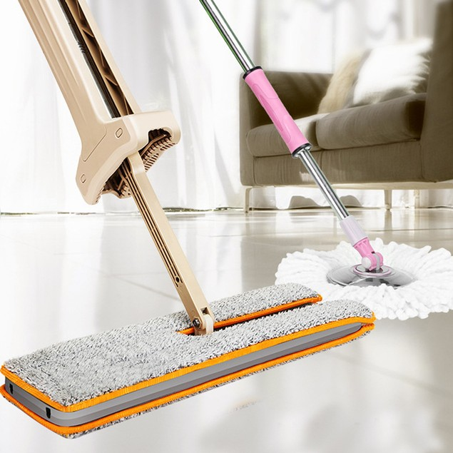 Useful Double-Side Flat Mop Hands-Free Washable Mop Home Cleaning Tool Lazy