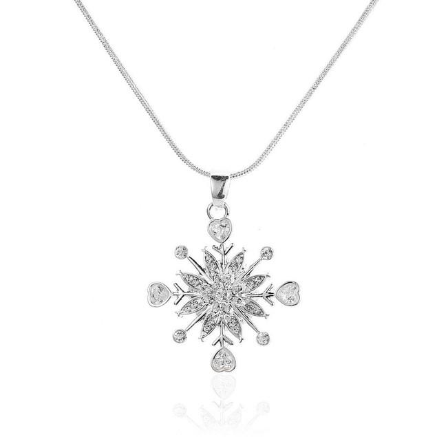 Novadab Zirconia Snowflake Pendant Necklace For Women
