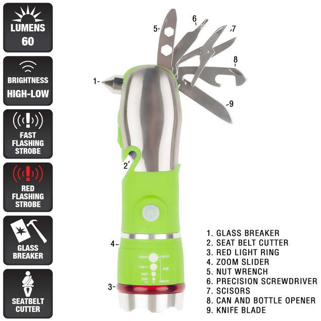 Stalwart 12 in 1 Emergency Safety Multi Tool and LED Flashlight