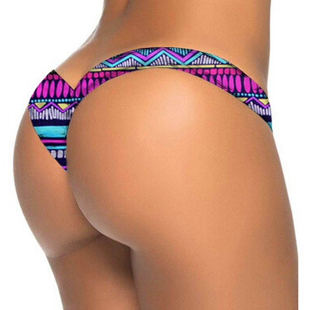 Women Brazilian Print Bikini Bottom Thong Bathing Beach Swimsuit Swimwear