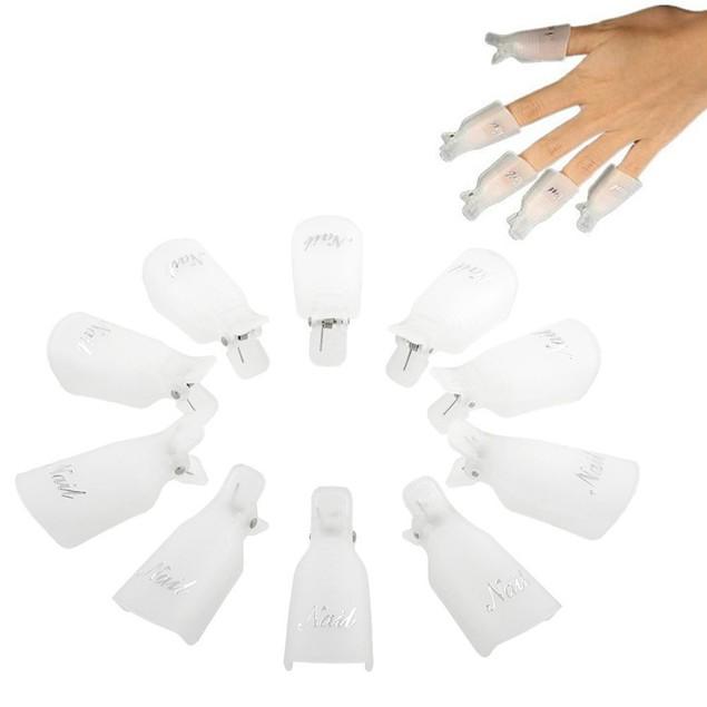 10PC Plastic Nail Art Soak Off Cap Clip UV Gel Polish Remover Wrap Tool