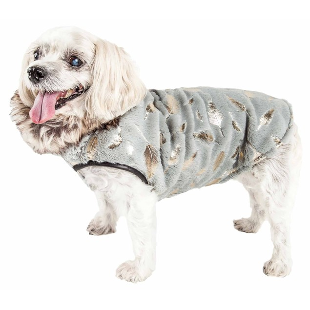 Pet Life Luxe 'Gold-Wagger' Gold-Leaf Fur Dog Jacket Coat