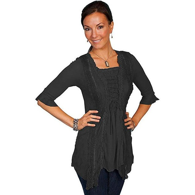 Scully Women's Honey Creek Ruffle Sleeve Lace Top Black Small
