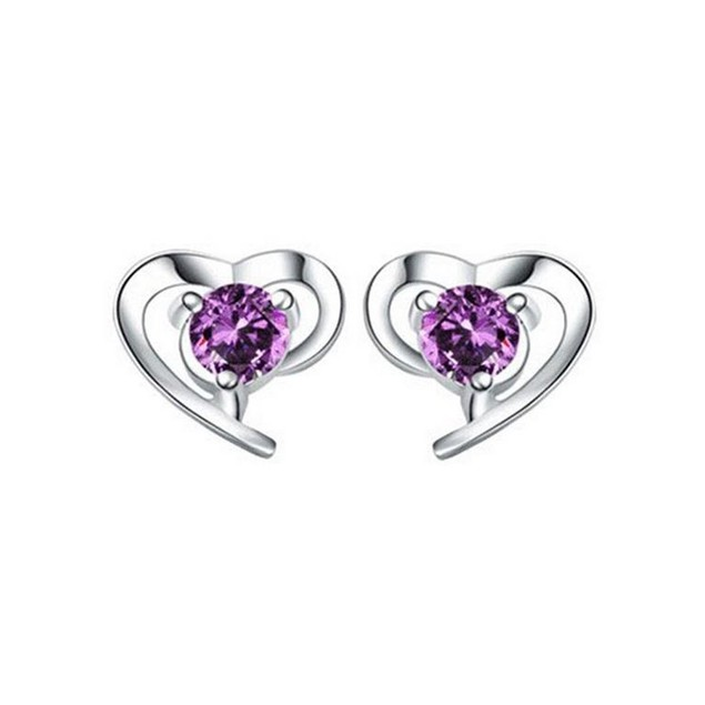 Novadab Charm Heart embeded Purple Rhinestone Ear Studs
