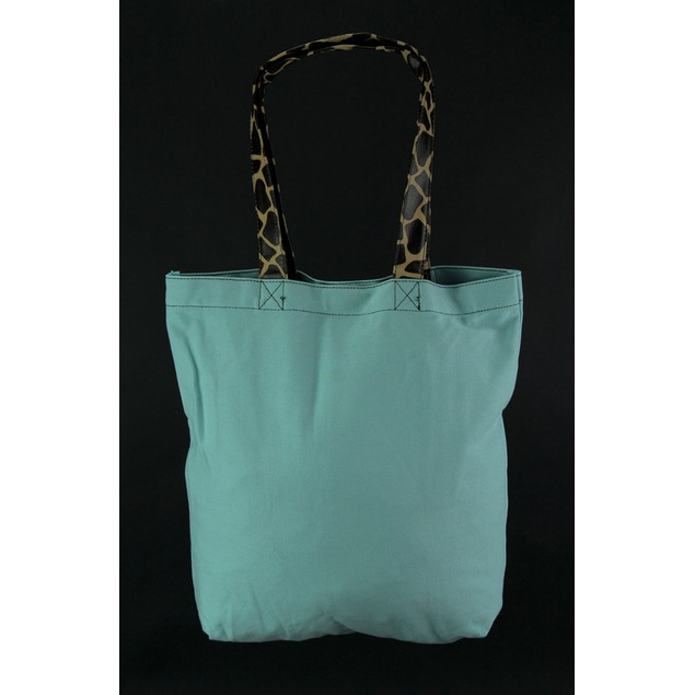 Archie The Bending Giraffe Blue Canvas Tote Bag