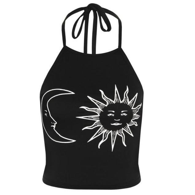 Women's  Sleeveless Halter Neck Tied Crop Vest Top T-Shirt