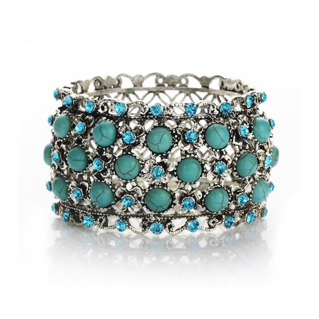 NOVADAB REGAL FLOWER BED TURQUOISE BRACELET (Weight 80 grams Diameter 7)