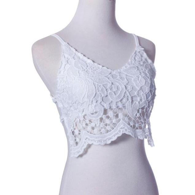 Women Crochet Camisole Lace Vest Blouse Crop Top