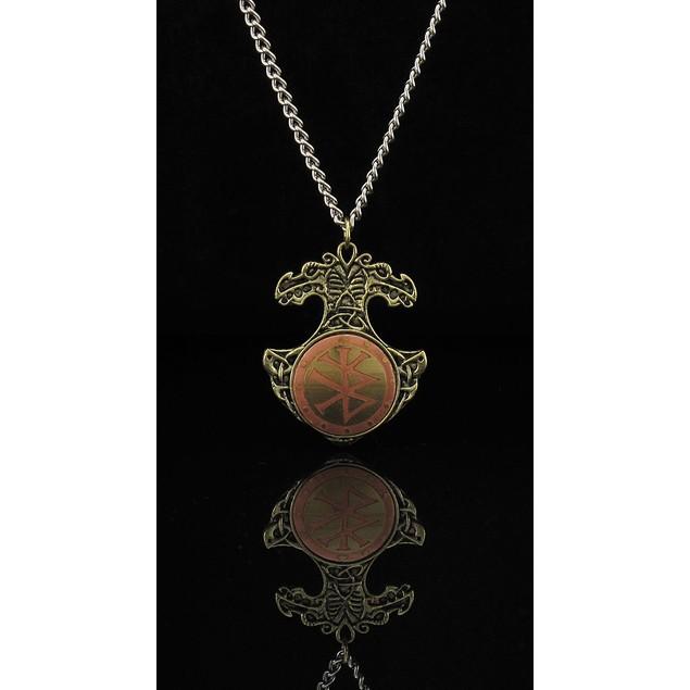 Viking Bind Rune Charm Necklace Talisman for Willpower