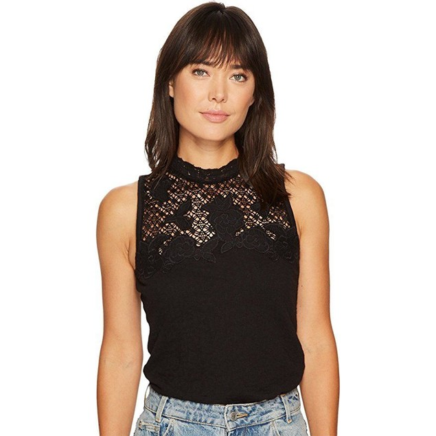 Lucky Brand Women's Lace Mock Neck Top Lucky Black SZ:  Small