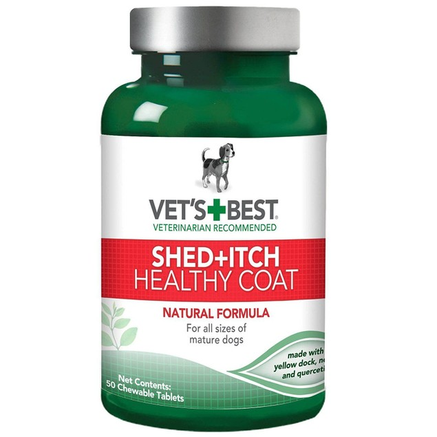 Healthy Coat Shed & Itch Relief Dog Supplements, 50 Chewable Tablets
