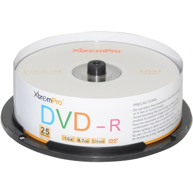 DVD-R 16X 4.7GB 120Min DVD 25 Pack Blank Discs in Spindle