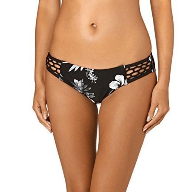 Seafolly Women's Tropic Coast Tab Side Hipster Bikini Bottom Black US