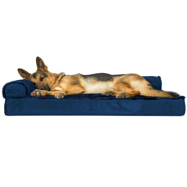 FurHaven Plush & Velvet Deluxe Chaise Lounge Orthopedic Sofa-Style Pet Bed