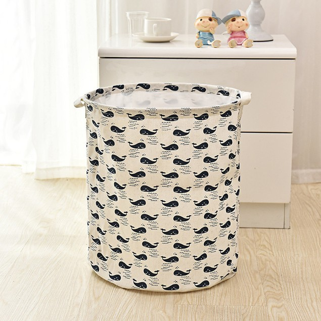 Waterproof Canvas Laundry Clothes Storage Basket Folding Storage Box